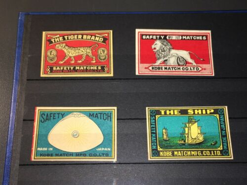 SCARCE ANTIQUE MATCHBOX LABELS FROM OLD PRIVATE COLLECTION - KOBE MATCH - JAPAN