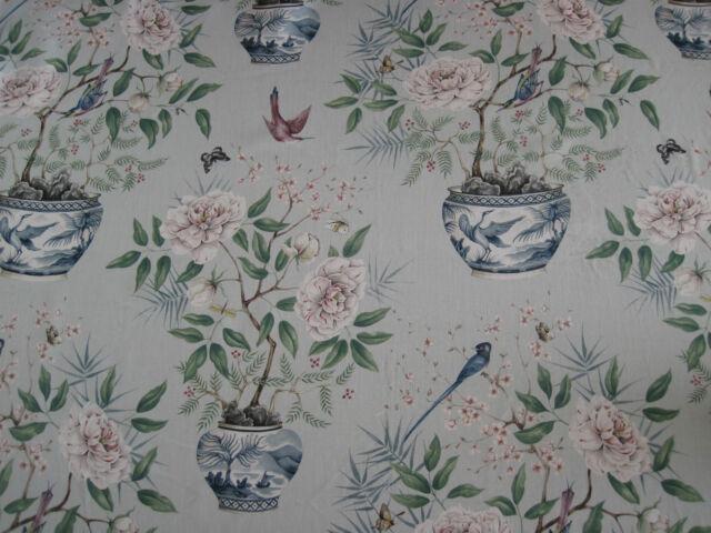 "ZOFFANY CURTAIN FABRIC DESIGN ""Romey's Garden"" 1.2 METRES SEAGREEN WOODVILLE COL"