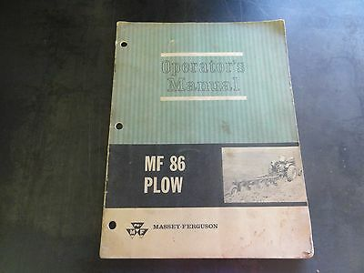 Massey Ferguson Mf86 Plow Operators Manual