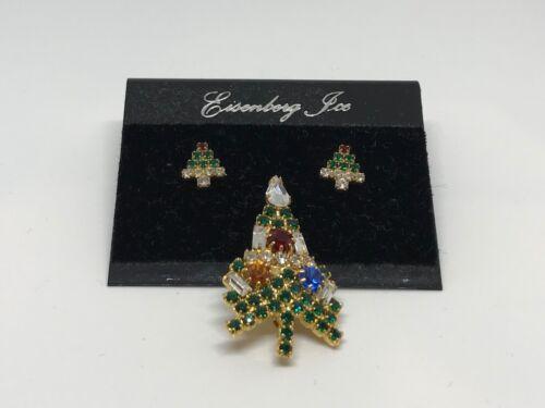 EISENBERG (NEW) Jeweled Christmas Tree Brooch and Christmas Tree Earrings