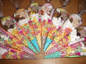20 x Pre filled Kids Children's  Sweet  party cone Bags Only free postage