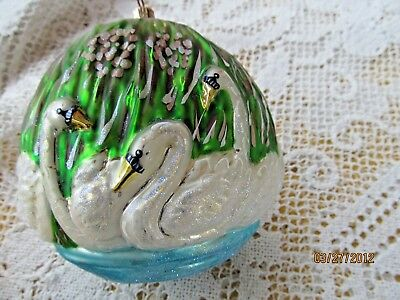 CHRISTOPHER RADKO GLASS ORNAMENT SEVEN SWANS A SWIMMING 12 DAYS OF CHRISTMAS 12 Days Seven Swans Ornament
