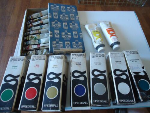 Vintage pre bar Code Oil Paints Grumbacher & Speedball Block printing Inks