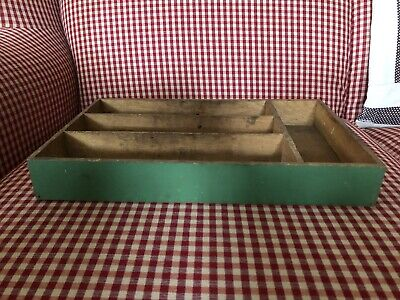 Vintage Green Painted Wooden  Cutlery Utensil Tray!