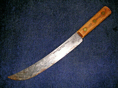 "Vintage Old Hickory Shapleigh's Hammer Forged 10"" Carbon Steel Scimitar Knife!"