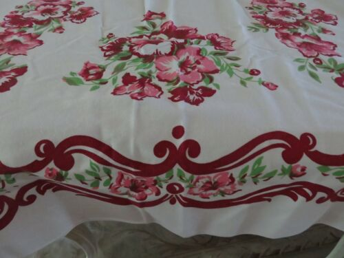 VIN Pretty Geraniums Deep Burgundy Purple & PINK on Snow White Cotton Tablecloth