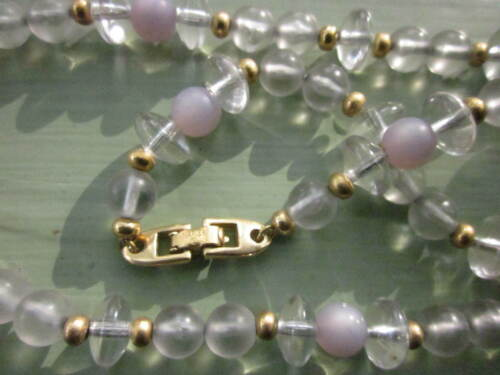 """NAPIER VINTAGE NECKLACE 24"""" STRAND of GLASS-LIKE CLEAR and FROSTED BEADS"""
