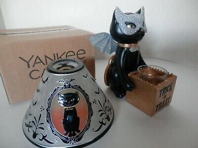 Yankee Candle SOPHIA CAT PORTRAIT SHADE & TRICK OR TREAT VOTIVE CANDLE HOLDER