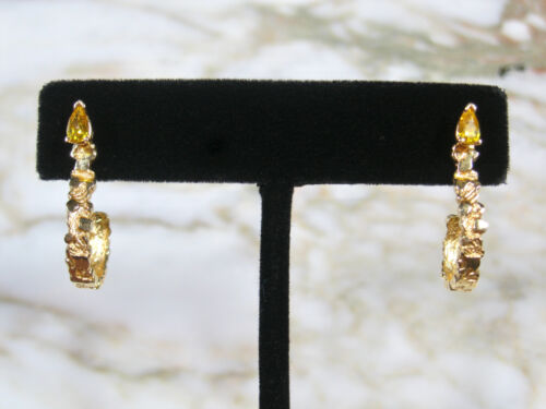 """PAIR VINTAGE SOLID 14K YELLOW GOLD NUGGET 1"""" HOOK EARRINGS W/ YELLOW PEAR STONE"""