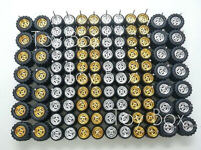 OFF-ROAD HOT WHEELS 4 SPOKE R/R RUBBER WHEELS TIRES GOLD/CHROME 54 SETS MIX