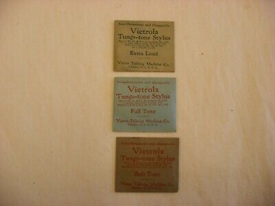Phonograph Gramophone Needle Tin & Packets - Victor Tungs-tone Three Packets #56