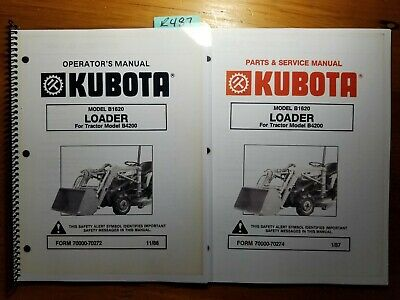 kubota b1620 loader for b4200 tractor owner operators manual service parts