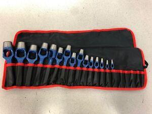 Rennsteig 15-Piece Arch Punch/Wad Punch Set in roll-up pouch, rn1409020