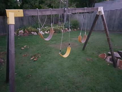 Solid wood swing set