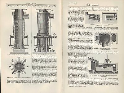 Lithografien 1905: Bleigewinnung. Blei Flamm-Schacht-Ofen Kessel Tarnowitzer
