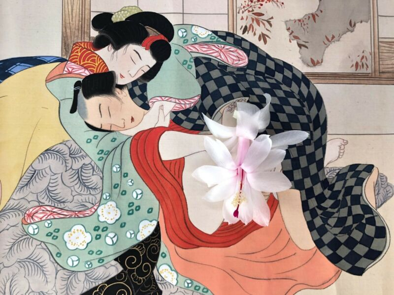 Japanese Shunga handpainted scroll, erotic and explicit, beautiful condition