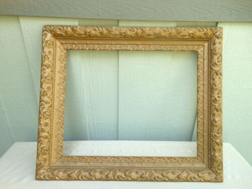 "Antique Gold Gesso Gilt Ornate Wood Picture Art Frame 25 3/4"" X 21 7/8"""