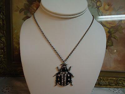 Black Enamel Clear Rhinestone Scarab Bug Beetle Insect Pendant Necklace