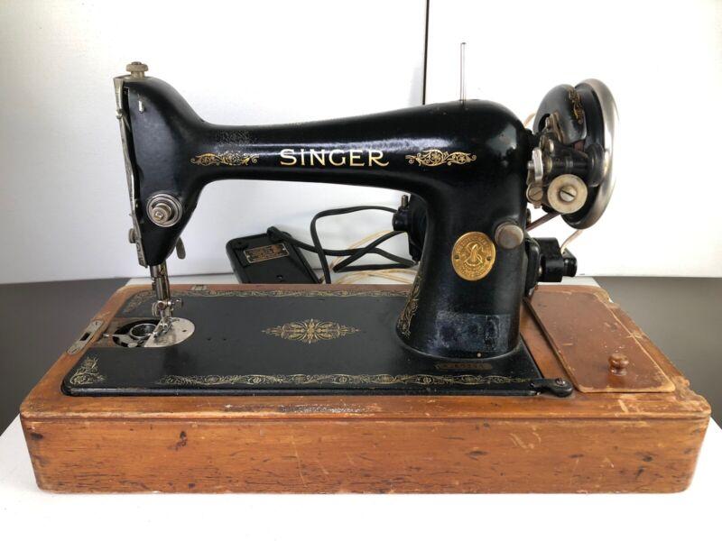 Vtg. Antique - SINGER Manufacturing Electric Sewing Machine w/ Case MOTOR WORKS