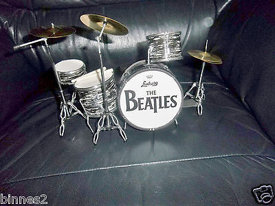 THE BEATLES LUDWIG MINIATURE DRUM SET 4 DRUMS 3 CYMBALS 1 STOOL 2 DRUM STICKS