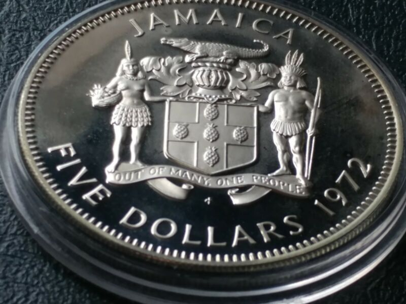 1972 JAMAICA PROOF $5  w HOLDER. Rare Sterling Silver Gem with Nice New Holder