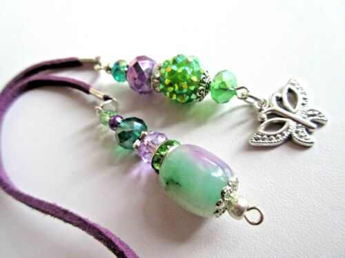 """BUTTERFLY CHARM, STONE & CRYSTAL BOOKMARK  w RUSTIC SUEDE CORD  17 """""""