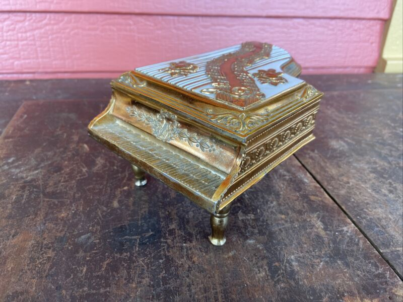 VTG Large Grand Piano Jewelry Box Gold Metal Red Velvet Interior Japan Opens
