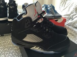 FS - DS Men's Nike Air Jordan 5's Black Metallic - Size 9