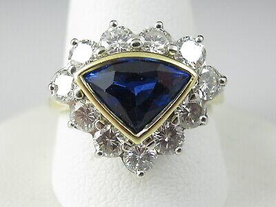 Sapphire Diamond Ring 18K Two-Tone Blue Shield Triangle 3.33ctw Estate Jewelry Blue Sapphire Two Tone Ring