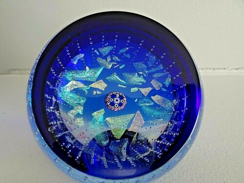 #551/650 Caithness Art Glass Scotland Faceted Paperweight DICHRO DAZZLE 2000