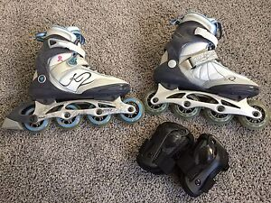 Women's rollerblades and wrist guards