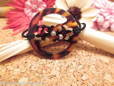 BRIGHTON Brown Black Tortoise Ponytail Holder Bracelet Hair Jewelry Accessory