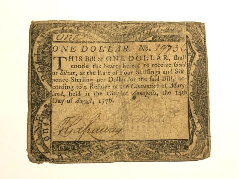 August 14, 1776 One Dollar Colonial Currency