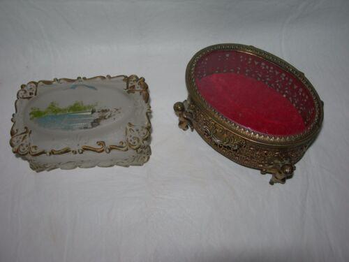 2 Vintage TRINKET Jewelry BOX-Casket~Satin Glass & Ornate Gold Metal w/Glass Lid