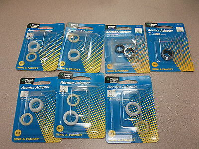 Faucet Aerator Adapters - SINK AND FAUCET AERATOR ADAPTERS PLUMB CRAFT , LOT OF SEVEN.
