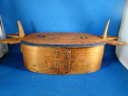 Tine bentwood box Antique Scandinavian Art Craft Norwegian Handmade Wood @H