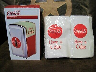 New Coca Cola Napkin Dispenser & 100 Napkins