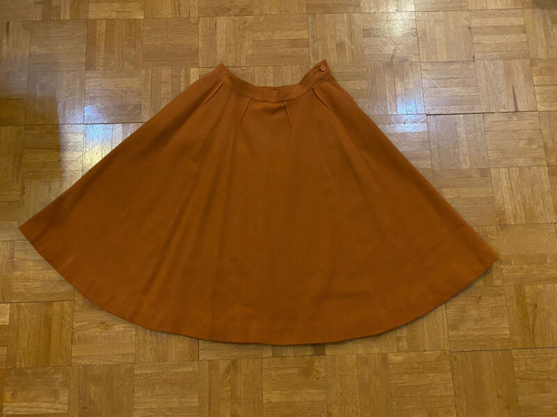 Vintage Bobbie Brooks Wool Circle Skirt Orange Rust sm/med