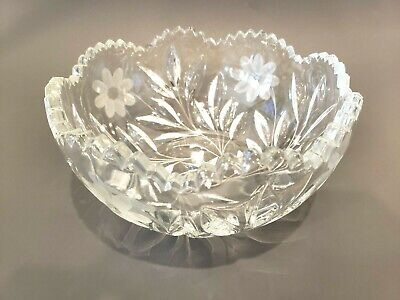 Antique Spectacular Glass Panelled Large BOWL Crystal Arts Crafts Cereal Dining English Circa 1910