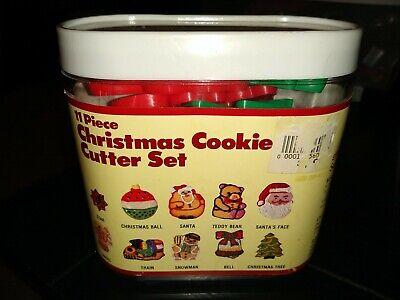 Lot 10 Vtg Xmas Plastic Cookie Cutter Set New Santa star snowman tree Bell train
