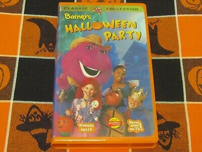 ~BARNEY'S HALLOWEEN PARTY~VIDEO~VHS~KIDS LEARN ABOUT COOPERATION~SAFETY~FRIENDS~