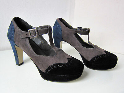 Tamaris T-Strap Pumps Gr. 39 Mary Jane schwarz grau blau shoes black Wildleder