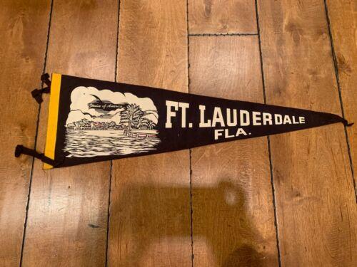 "Vintage FT FORT LAUDERDALE VENICE OF AMERICA FLORIDA FELT PENNANT 26"" RARE"
