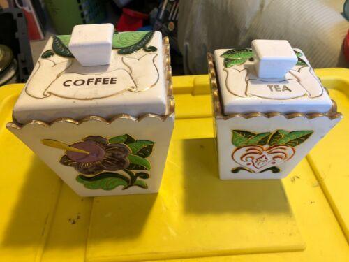 2-pc. vintage coffee tea ceramic square canister set w/ lids