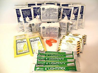 4 PERSON EMERGENCY SURVIVAL FOOD BARS, WATER AND GEAR FOR BOAT DITCH BAG 5 YR