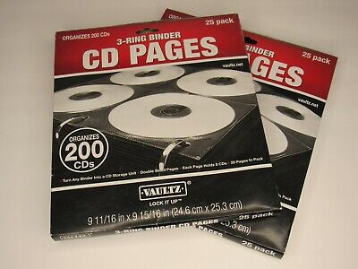 2 Lot Vaultz Two-sided Cd Dvd Three-ring Binder Refill Pages 50 Pack Or 400 Cds