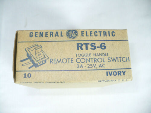 [10] GENERAL ELECTRIC RTS-6 TOGGLE HANDLE REMOTE CONTROL SWITCH 3A-25V / IVORY