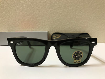 AUTHENTIC Ray Ban Original Wayfarer Sunglasses Green Lens Black Frame Size 50MM