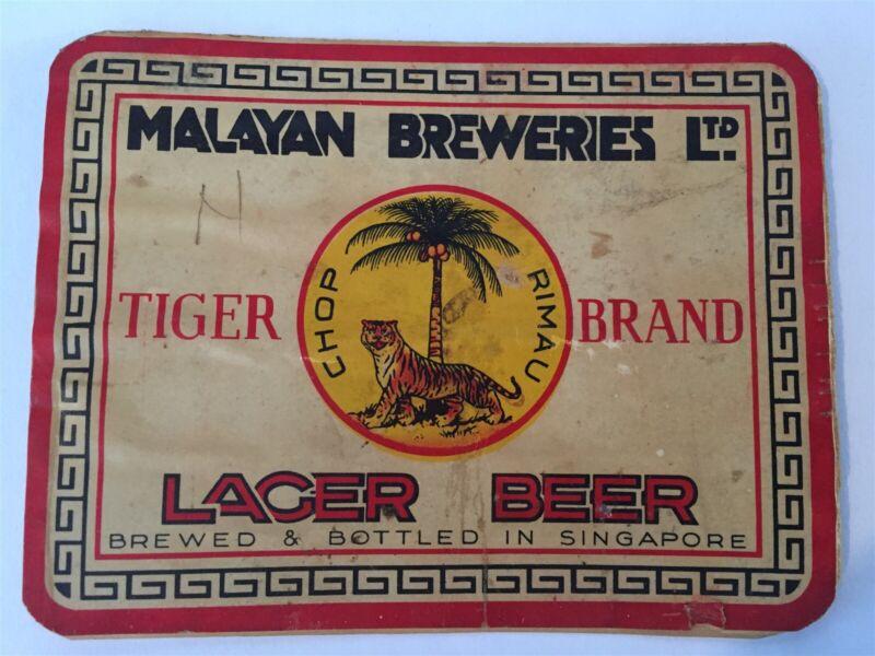Tiger Brand Chop Rimau Lager Beer Malayan Breweries Beer Bottle Label *L5