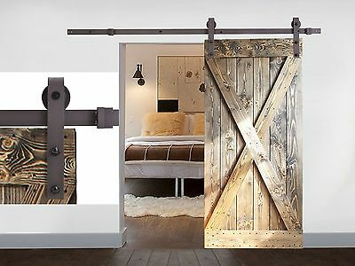 Black Coffee Antique Style Steel Sliding Barn Rustic Wood Door Closet Hardware